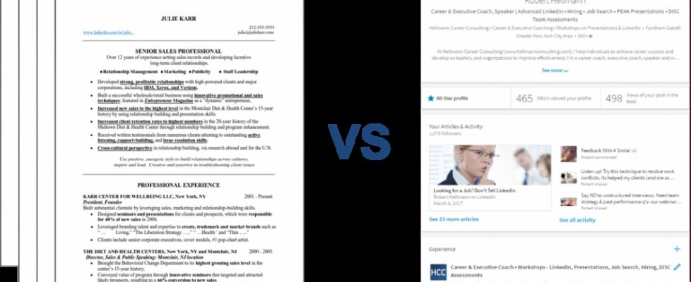 resumes vs LI profiles