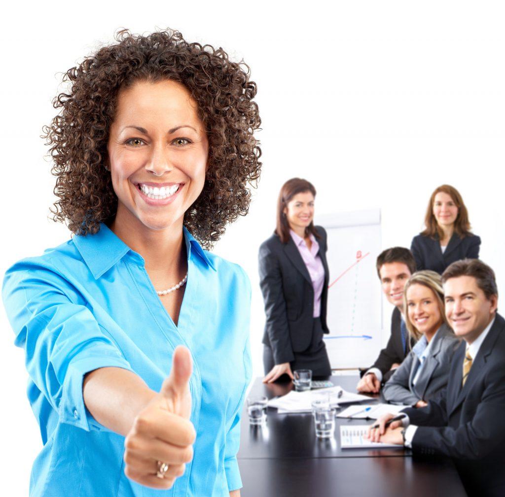 Businesswoman achieving success